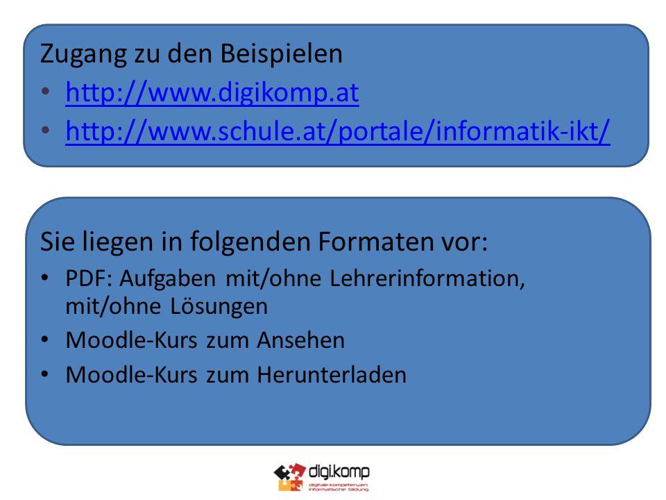 Zugang zu den Beispielen http://www.digikomp.at http://www.schule.at/portale/informatik-ikt/ http://www.schule.at/portale/informatik-ikt/ Sie liegen in folgenden Formaten vor: PDF: Aufgaben mit/ohne Lehrerinformation, mit/ohne Lösungen Moodle-Kurs zum Ansehen Moodle-Kurs zum Herunterladen