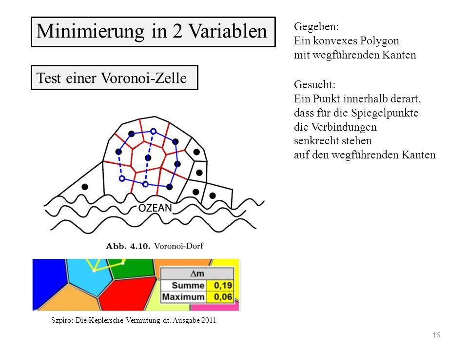 Minimierung in 2 Variablen Gegeben: Ein konvexes Polygon mit wegführenden Kanten Test einer Voronoi-Zelle 16 Gesucht: Ein Punkt innerhalb derart, dass für die Spiegelpunkte die Verbindungen senkrecht stehen auf den wegführenden Kanten Szpiro: Die Keplersche Vermutung dt.
