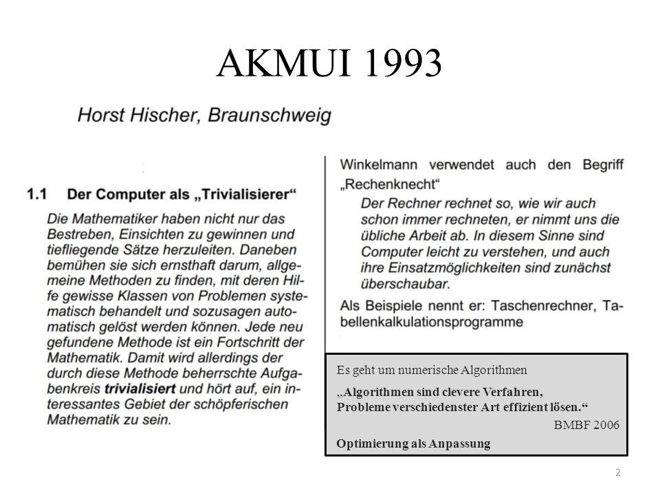 """AKMUI 1993 2 """"Algorithmen sind clevere Verfahren, Probleme verschiedenster Art effizient lösen. Es geht um numerische Algorithmen BMBF 2006 Optimierung als Anpassung"""