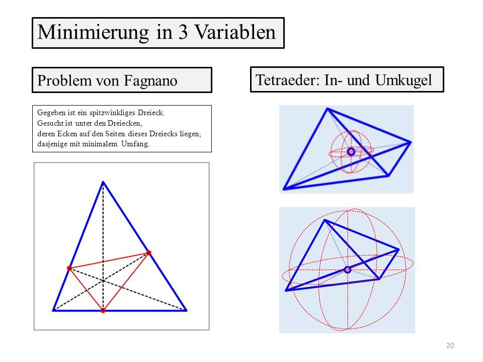 Gegeben ist ein spitzwinkliges Dreieck. Gesucht ist unter den Dreiecken, deren Ecken auf den Seiten dieses Dreiecks liegen, dasjenige mit minimalem Um
