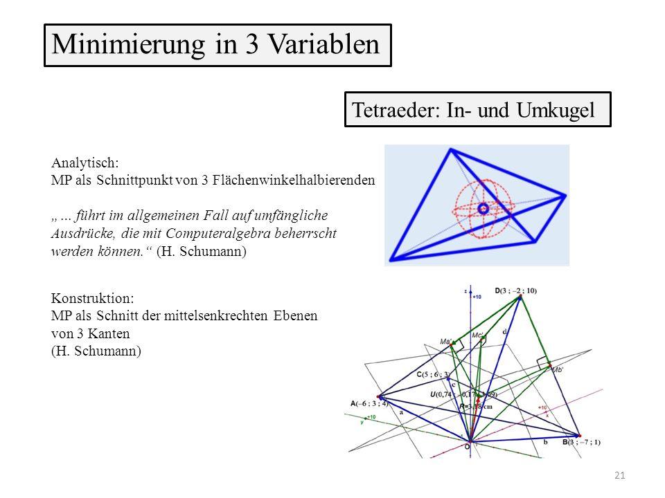 """Minimierung in 3 Variablen Tetraeder: In- und Umkugel Analytisch: MP als Schnittpunkt von 3 Flächenwinkelhalbierenden """"… führt im allgemeinen Fall auf umfängliche Ausdrücke, die mit Computeralgebra beherrscht werden können. (H."""