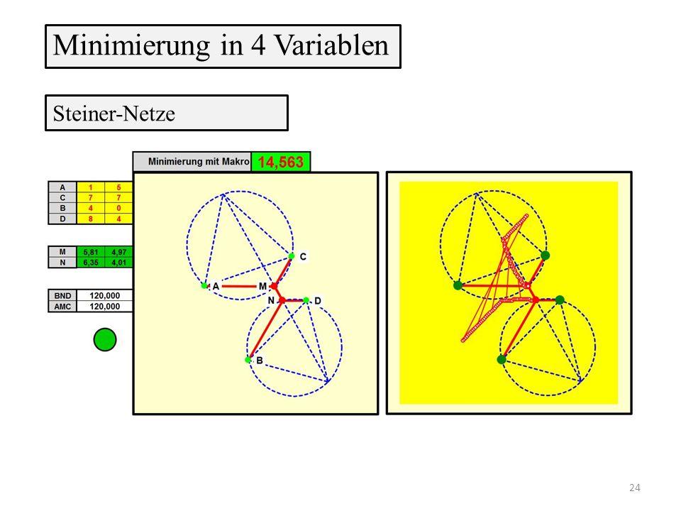 Steiner-Netze Minimierung in 4 Variablen 24