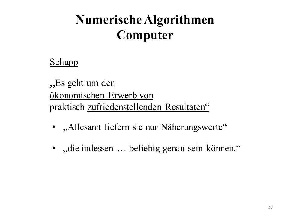 """Numerische Algorithmen Computer """"Allesamt liefern sie nur Näherungswerte"""" """" Es geht um den ökonomischen Erwerb von praktisch zufriedenstellenden Resul"""