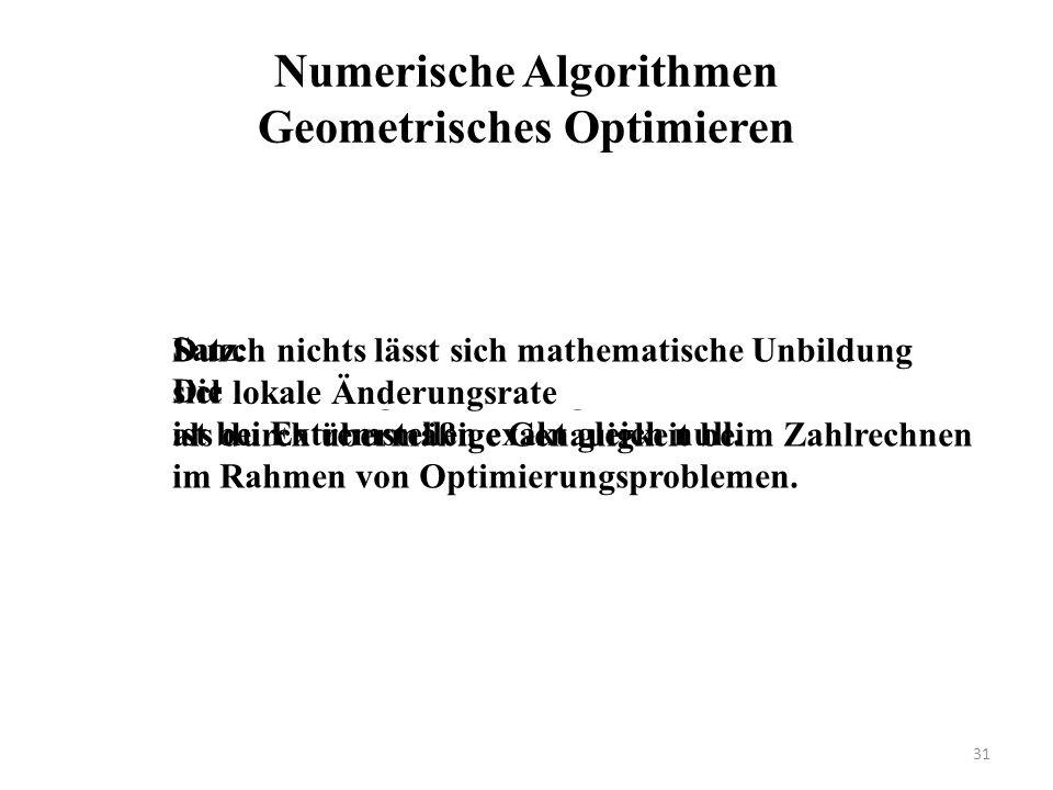 Numerische Algorithmen Geometrisches Optimieren Durch nichts lässt sich mathematische Unbildung sicherer unter Beweis stellen als durch übermäßige Genauigkeit beim Zahlrechnen im Rahmen von Optimierungsproblemen.