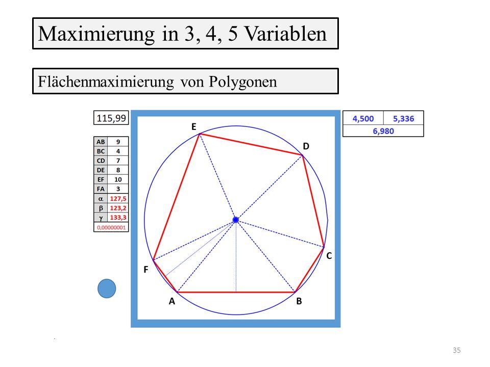 Flächenmaximierung von Polygonen Maximierung in 3, 4, 5 Variablen 35