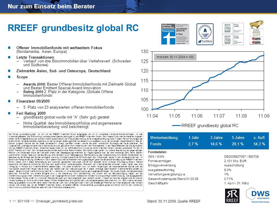 """Onepager_grundbesitz global.ppt 130/11/09 Der Fonds """"grundbesitz global ist ein von der RREEF Investment GmbH aufgelegtes und von ihr verwaltetes Immobilien-Sondervermögen i."""
