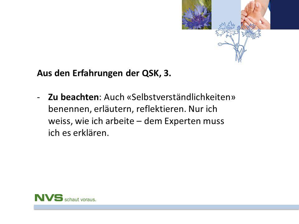 Aus den Erfahrungen der QSK, 3. -Zu beachten: Auch «Selbstverständlichkeiten» benennen, erläutern, reflektieren. Nur ich weiss, wie ich arbeite – dem