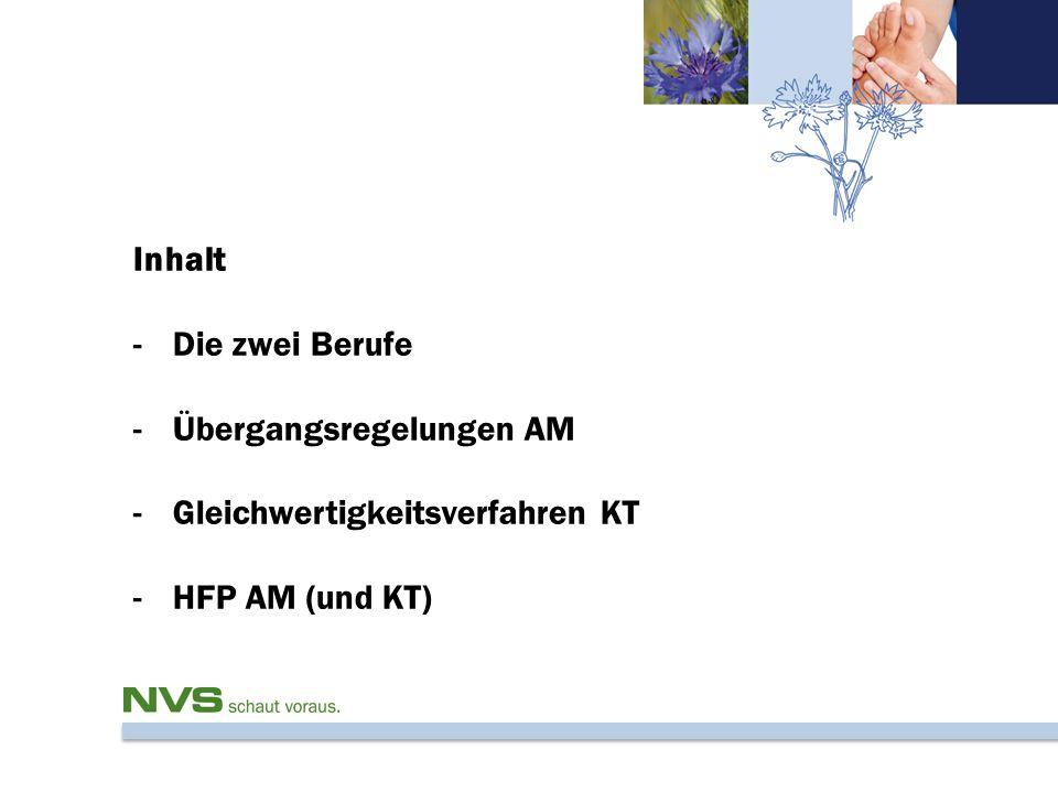 Inhalt -Die zwei Berufe -Übergangsregelungen AM -Gleichwertigkeitsverfahren KT -HFP AM (und KT)