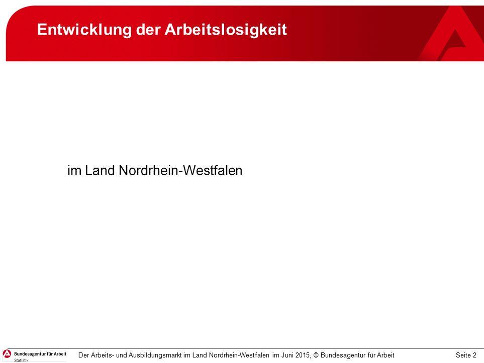 Seite 3 Arbeitslosigkeit Bestand an Arbeitslosen und Arbeitslosenquoten (in %) Der Arbeits- und Ausbildungsmarkt im Land Nordrhein-Westfalen im Juni 2015, © Bundesagentur für Arbeit -0,1% -2,4% zum Vormonat: zum Vorjahr: