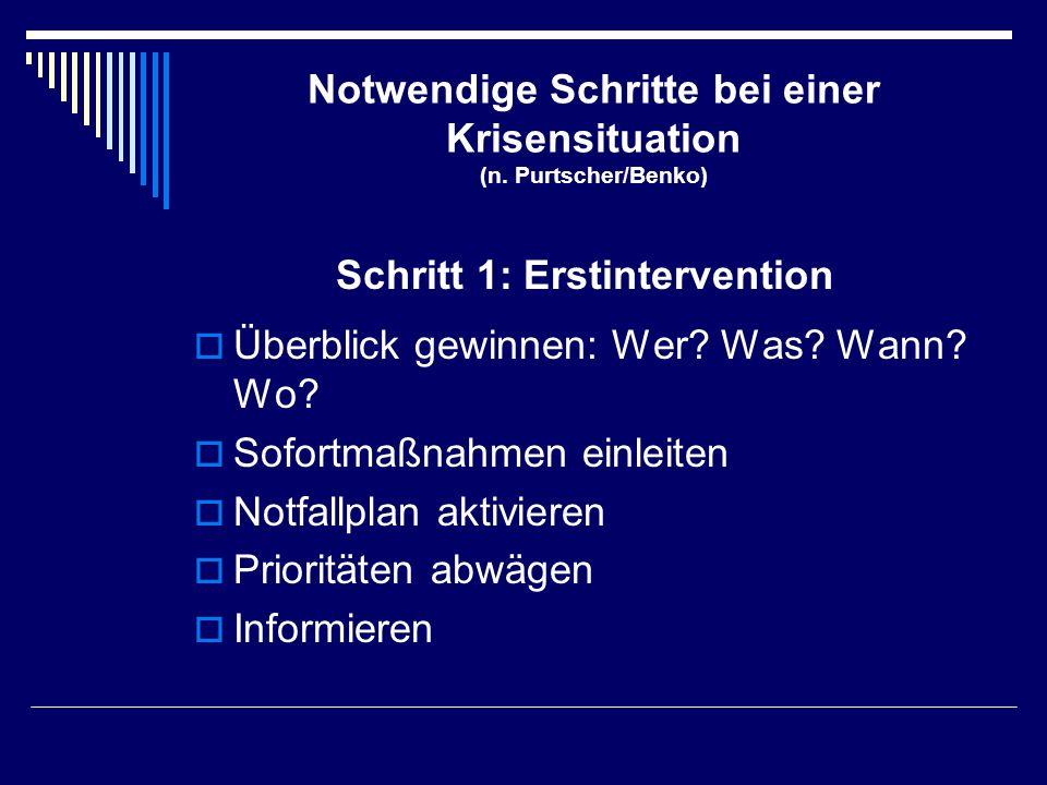 Notwendige Schritte bei einer Krisensituation (n. Purtscher/Benko)  Überblick gewinnen: Wer? Was? Wann? Wo?  Sofortmaßnahmen einleiten  Notfallplan