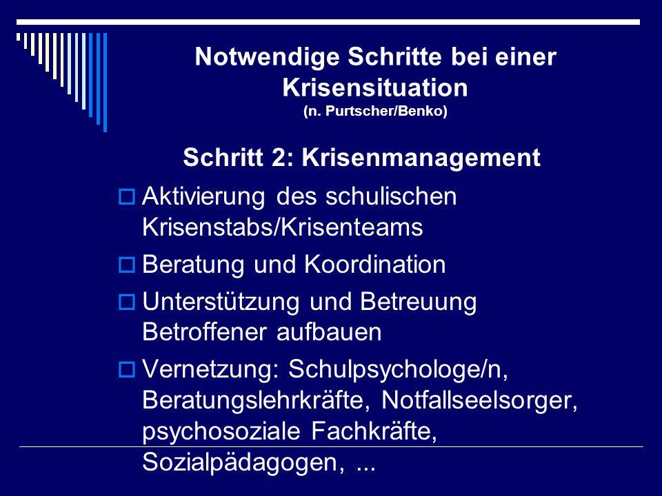 Notwendige Schritte bei einer Krisensituation (n. Purtscher/Benko)  Aktivierung des schulischen Krisenstabs/Krisenteams  Beratung und Koordination 