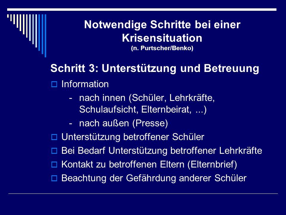 Notwendige Schritte bei einer Krisensituation (n. Purtscher/Benko)  Information -nach innen (Schüler, Lehrkräfte, Schulaufsicht, Elternbeirat,...) -n