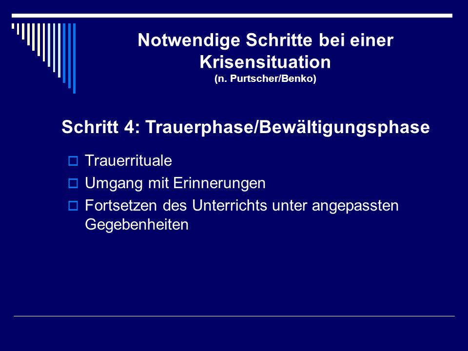 Notwendige Schritte bei einer Krisensituation (n. Purtscher/Benko)  Trauerrituale  Umgang mit Erinnerungen  Fortsetzen des Unterrichts unter angepa