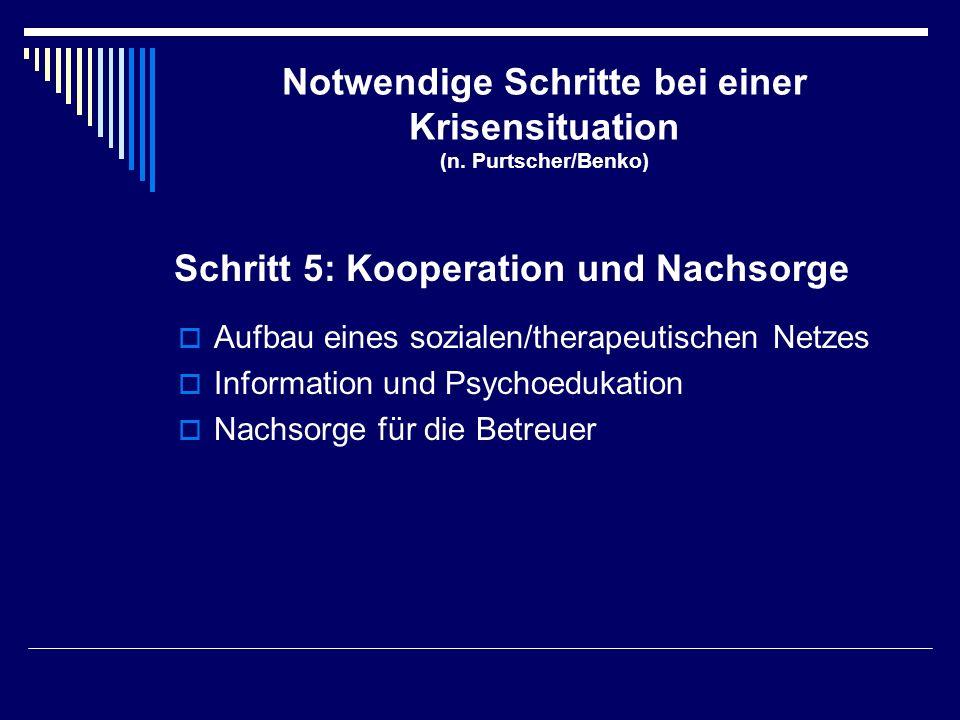 Notwendige Schritte bei einer Krisensituation (n. Purtscher/Benko)  Aufbau eines sozialen/therapeutischen Netzes  Information und Psychoedukation 