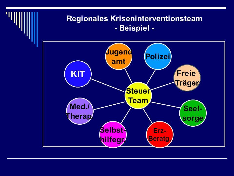 Regionales Kriseninterventionsteam - Beispiel - KIT Med./ Therap. Selbst- hilfegr. Erz- Beratg. Seel- sorge Steuer Team Polizei Jugend amt Freie Träge
