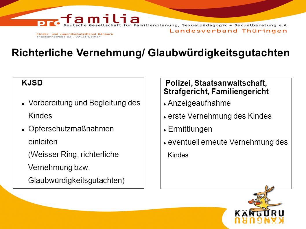 KJSD Vorbereitung und Begleitung des Kindes Opferschutzmaßnahmen einleiten (Weisser Ring, richterliche Vernehmung bzw.