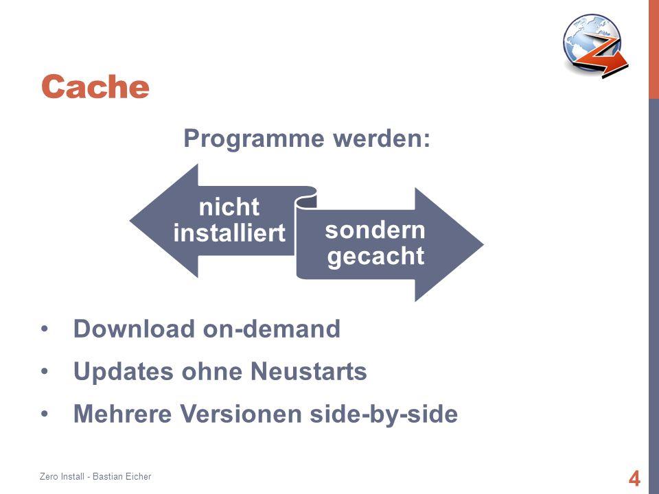 Cache Zero Install - Bastian Eicher 4 Programme werden: nicht installiert sondern gecacht Download on-demand Updates ohne Neustarts Mehrere Versionen side-by-side