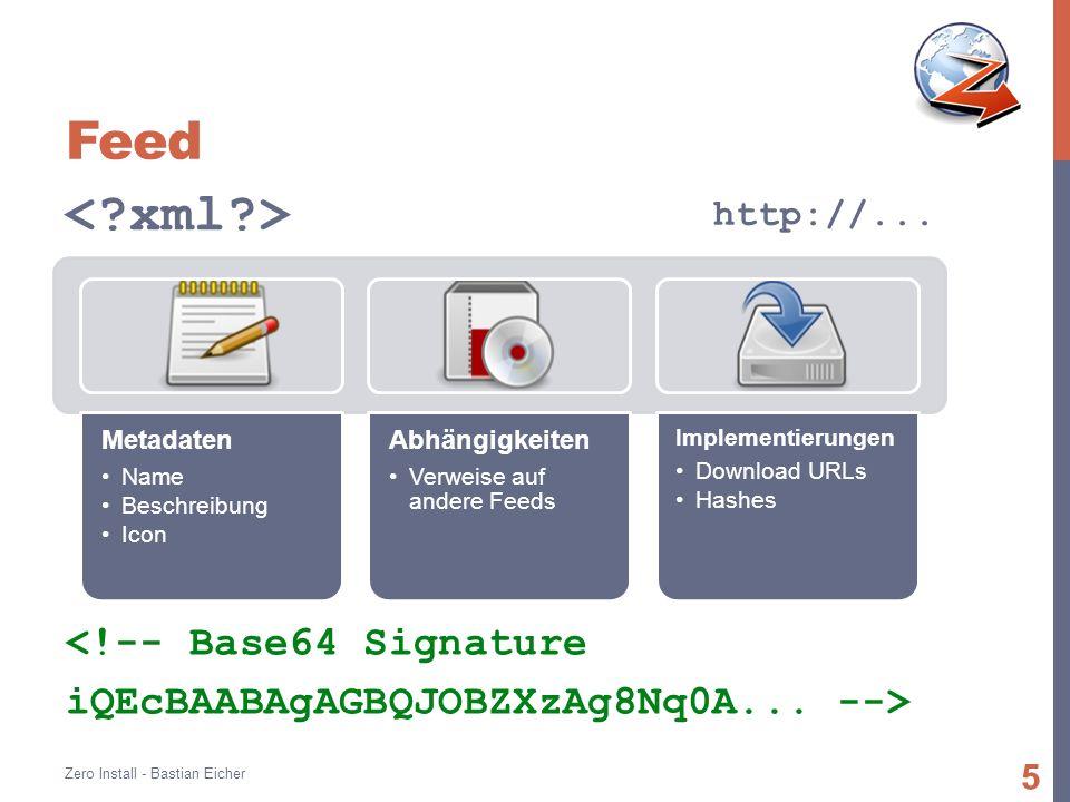 Feed Metadaten Name Beschreibung Icon Abhängigkeiten Verweise auf andere Feeds Implementierungen Download URLs Hashes Zero Install - Bastian Eicher 5 <!-- Base64 Signature iQEcBAABAgAGBQJOBZXzAg8Nq0A...