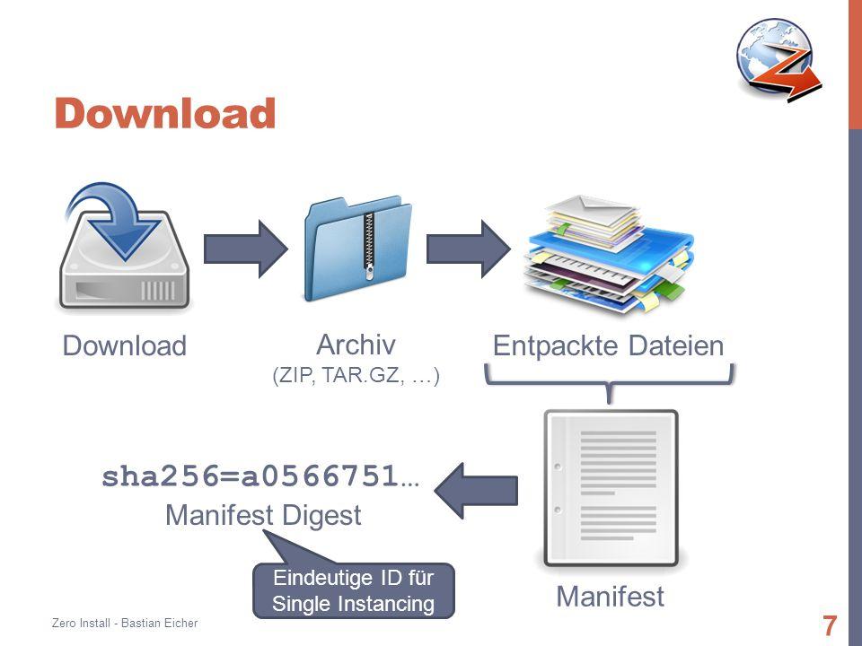 Download Zero Install - Bastian Eicher 7 Download Archiv (ZIP, TAR.GZ, …) Entpackte Dateien Manifest sha256=a0566751… Manifest Digest Eindeutige ID für Single Instancing