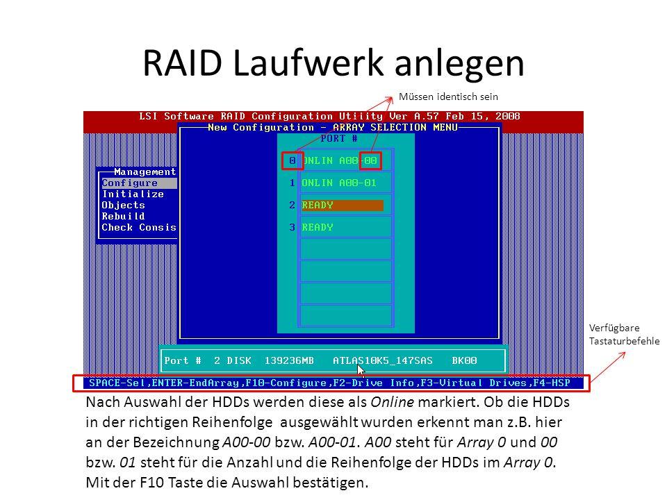 RAID Laufwerk anlegen Nach Auswahl der HDDs werden diese als Online markiert. Ob die HDDs in der richtigen Reihenfolge ausgewählt wurden erkennt man z