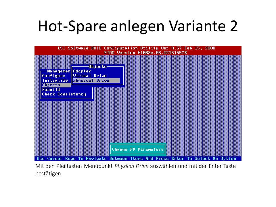 Hot-Spare anlegen Variante 2 Mit den Pfeiltasten Menüpunkt Physical Drive auswählen und mit der Enter Taste bestätigen.