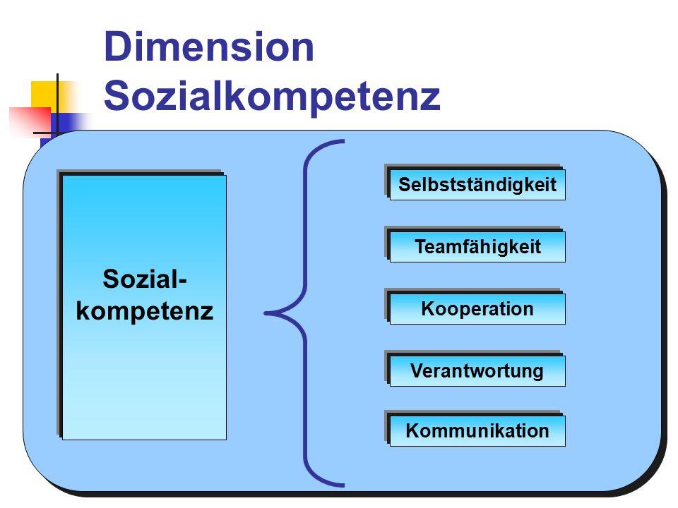 Dimension Methodenkompetenz Methoden- kompetenz Methodenvielfalt Objektivität Reflexivität Analyse Transfer Flexibilität Problemlösen