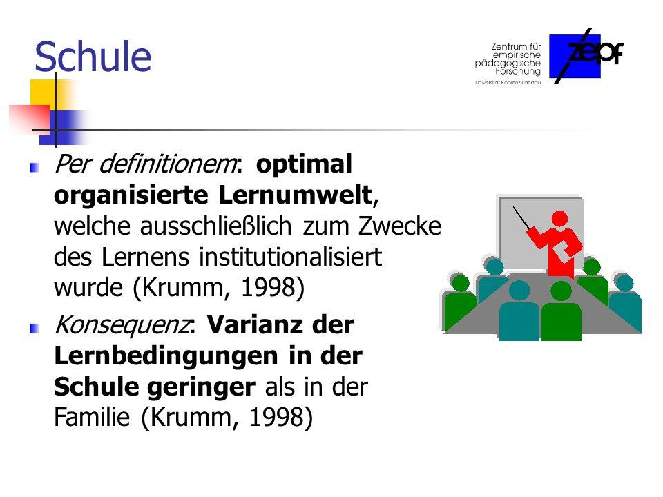 Schule Per definitionem: optimal organisierte Lernumwelt, welche ausschließlich zum Zwecke des Lernens institutionalisiert wurde (Krumm, 1998) Konsequenz: Varianz der Lernbedingungen in der Schule geringer als in der Familie (Krumm, 1998)