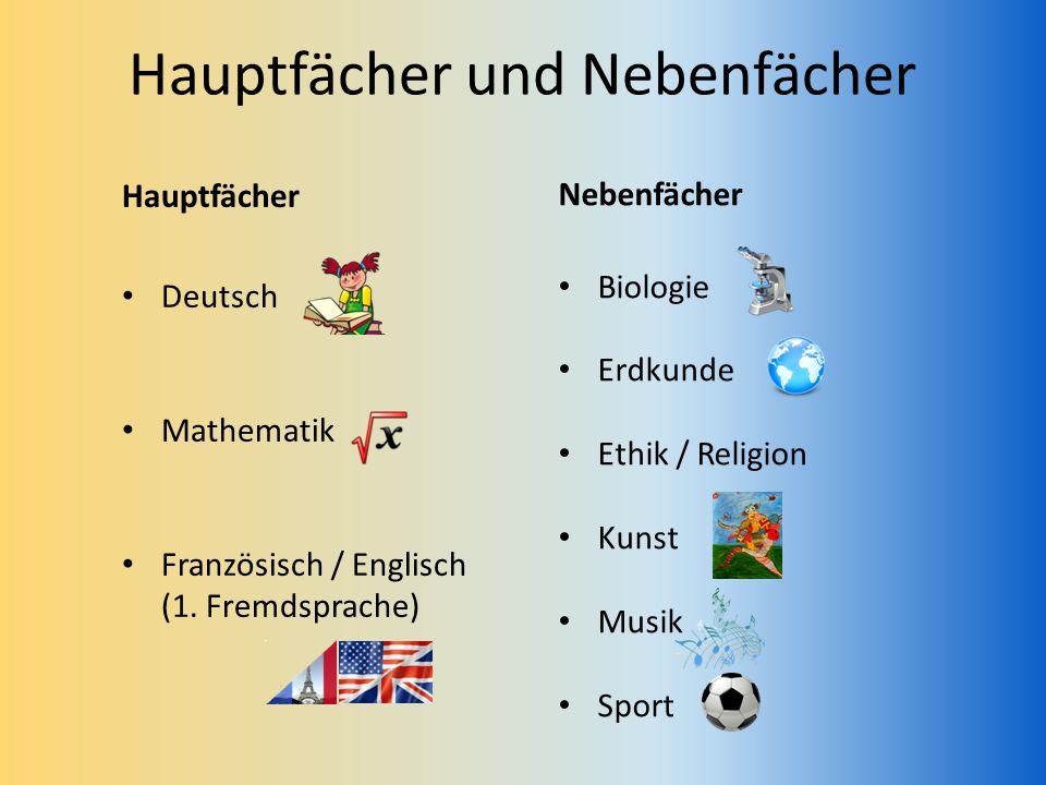 Hauptfächer und Nebenfächer Hauptfächer Deutsch Mathematik Französisch / Englisch (1. Fremdsprache) Nebenfächer Biologie Erdkunde Ethik / Religion Kun
