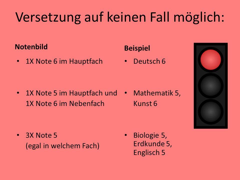 Versetzung auf keinen Fall möglich: Notenbild 1X Note 6 im Hauptfach 1X Note 5 im Hauptfach und 1X Note 6 im Nebenfach 3X Note 5 (egal in welchem Fach
