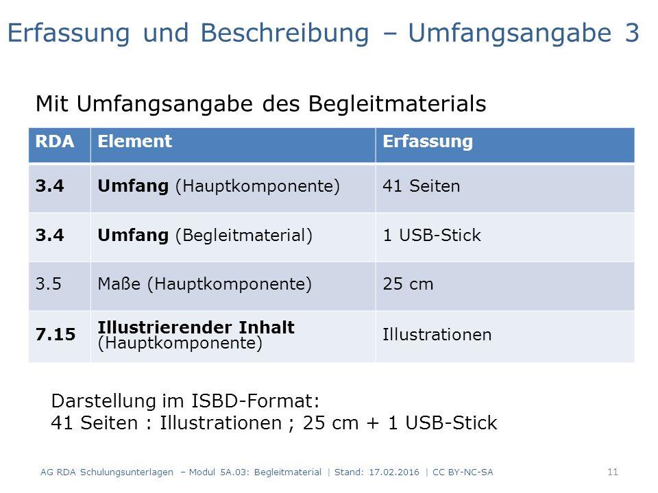 RDAElementErfassung 3.4Umfang (Hauptkomponente)41 Seiten 3.4Umfang (Begleitmaterial)1 USB-Stick 3.5Maße (Hauptkomponente)25 cm 7.15 Illustrierender In