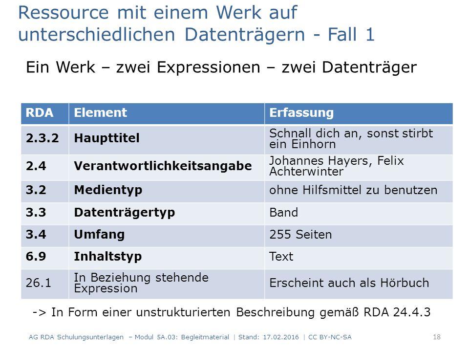 RDAElementErfassung 2.3.2Haupttitel Schnall dich an, sonst stirbt ein Einhorn 2.4Verantwortlichkeitsangabe Johannes Hayers, Felix Achterwinter 3.2Medi
