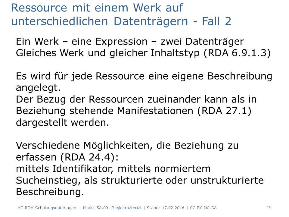 Ressource mit einem Werk auf unterschiedlichen Datenträgern - Fall 2 Ein Werk – eine Expression – zwei Datenträger Gleiches Werk und gleicher Inhaltst