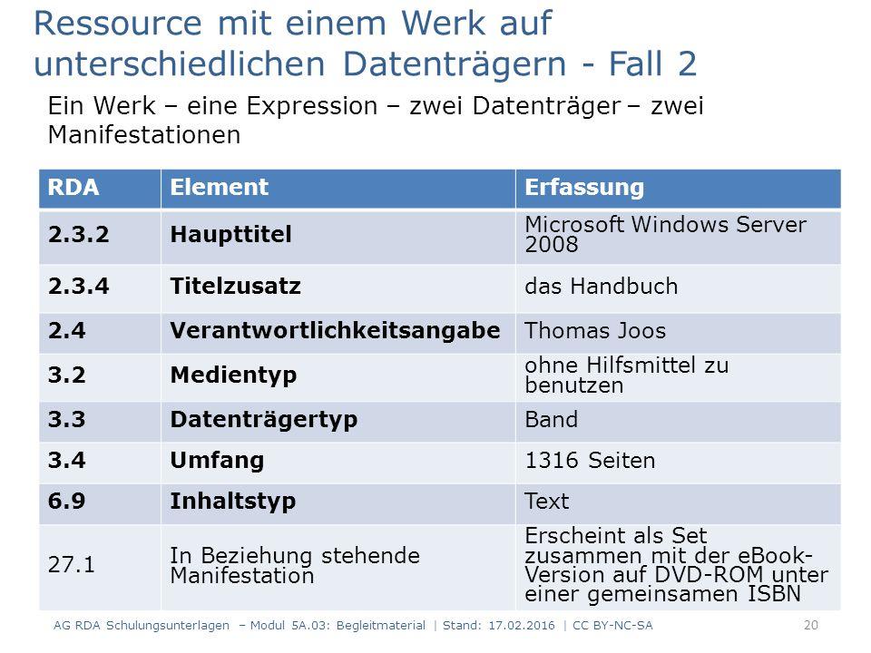 RDAElementErfassung 2.3.2Haupttitel Microsoft Windows Server 2008 2.3.4Titelzusatzdas Handbuch 2.4VerantwortlichkeitsangabeThomas Joos 3.2Medientyp oh