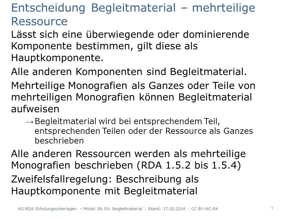 RDAElementErfassung 3.2Medientypohne Hilfsmittel zu benutzen 3.3DatenträgertypBand 6.9InhaltstypText Erfassung und Beschreibung - IMD Inhalts-, Medien- und Datenträgertyp von Begleitmaterial wird nicht berücksichtigt (RDA 6.9.1.3 D-A-CH, RDA 3.2.1.3 D-A-CH sowie RDA 3.3.1.3 D-A-CH) Beispiel einer Dissertation bestehend aus einem Textteil in gedruckter Form und einer CD-ROM mit statistischen Daten: AG RDA Schulungsunterlagen – Modul 5A.03: Begleitmaterial   Stand: 17.02.2016   CC BY-NC-SA 8
