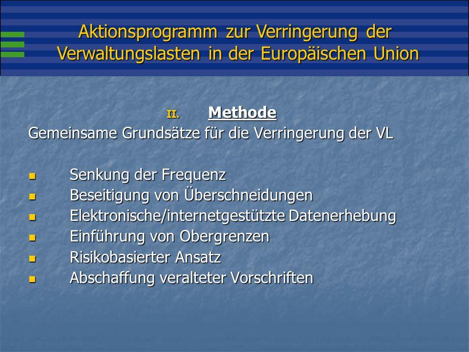 Aktionsprogramm zur Verringerung der Verwaltungslasten in der Europäischen Union II.