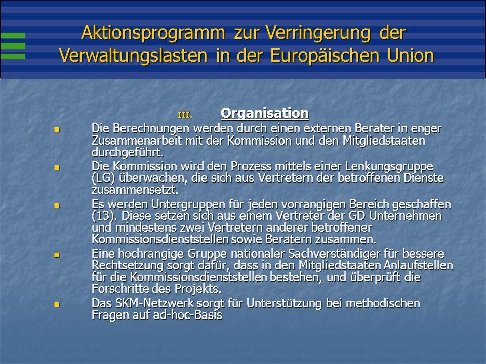 Aktionsprogramm zur Verringerung der Verwaltungslasten in der Europäischen Union III.