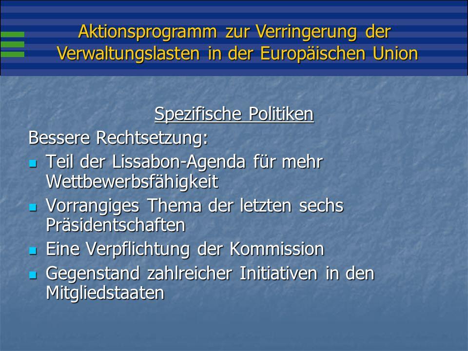 Aktionsprogramm zur Verringerung der Verwaltungslasten in der Europäischen Union Spezifische Politiken Bessere Rechtsetzung: Teil der Lissabon-Agenda für mehr Wettbewerbsfähigkeit Teil der Lissabon-Agenda für mehr Wettbewerbsfähigkeit Vorrangiges Thema der letzten sechs Präsidentschaften Vorrangiges Thema der letzten sechs Präsidentschaften Eine Verpflichtung der Kommission Eine Verpflichtung der Kommission Gegenstand zahlreicher Initiativen in den Mitgliedstaaten Gegenstand zahlreicher Initiativen in den Mitgliedstaaten