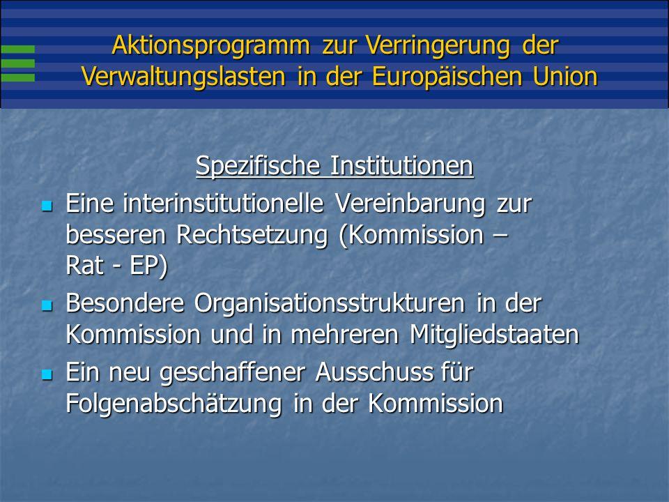 Aktionsprogramm zur Verringerung der Verwaltungslasten in der Europäischen Union Spezifische Tools Folgenabschätzung (obligatorisch) Folgenabschätzung (obligatorisch) Konsultationsrichtlinien Konsultationsrichtlinien Fortlaufendes Vereinfachungsprogramm (05-08) Fortlaufendes Vereinfachungsprogramm (05-08) Kodifizierungsprogramm Kodifizierungsprogramm Screening-Programm Screening-Programm Aktionsprogramm (AP) zur Verringerung der Verwaltungslasten Aktionsprogramm (AP) zur Verringerung der Verwaltungslasten