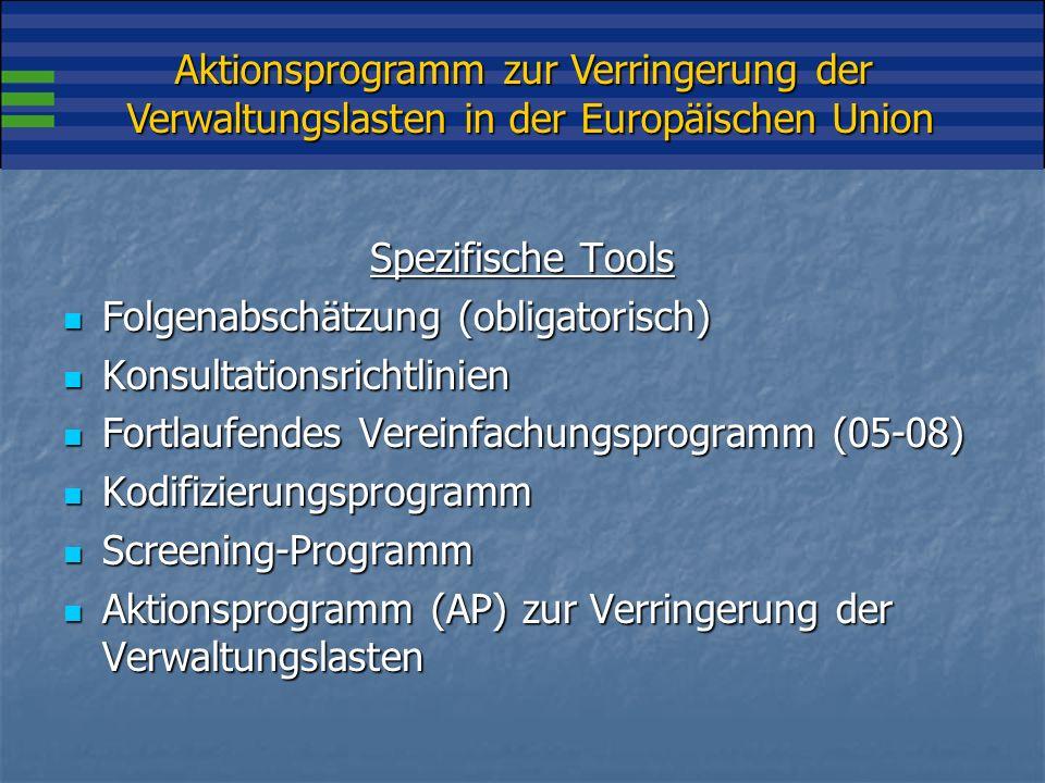 Aktionsprogramm zur Verringerung der Verwaltungslasten in der Europäischen Union Das AP wurde im Januar 2007 von der Kommission verabschiedet Das AP wurde im Januar 2007 von der Kommission verabschiedet Das AP baut auf dem Pilotprojekt von 2006 auf, in dem die SKM-Berechnungen in CZ, DK, NL und UK verglichen wurden Das AP baut auf dem Pilotprojekt von 2006 auf, in dem die SKM-Berechnungen in CZ, DK, NL und UK verglichen wurden Das Aktionsprogramm wurde im Frühjahr 2007 vom Europäischen Rat unterstützt Das Aktionsprogramm wurde im Frühjahr 2007 vom Europäischen Rat unterstützt