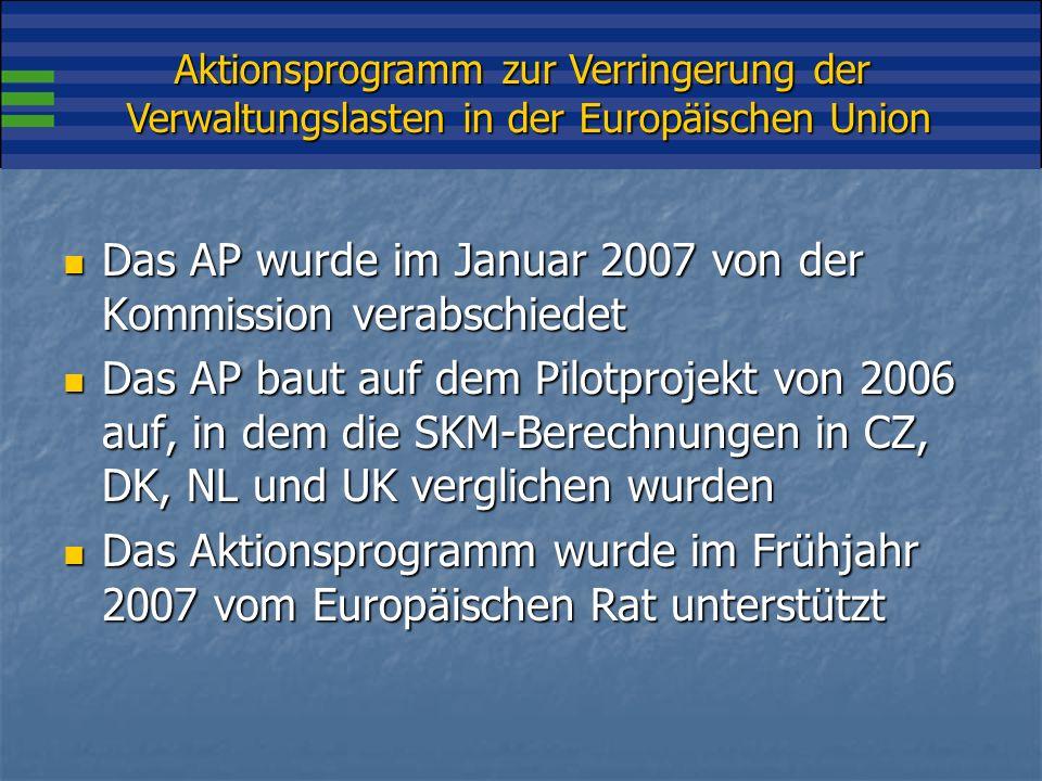 Aktionsprogramm zur Verringerung der Verwaltungslasten in der Europäischen Union Das AP enthält 5 Grundbestandteile: I.