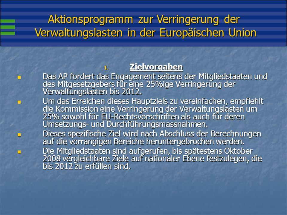 Aktionsprogramm zur Verringerung der Verwaltungslasten in der Europäischen Union I.