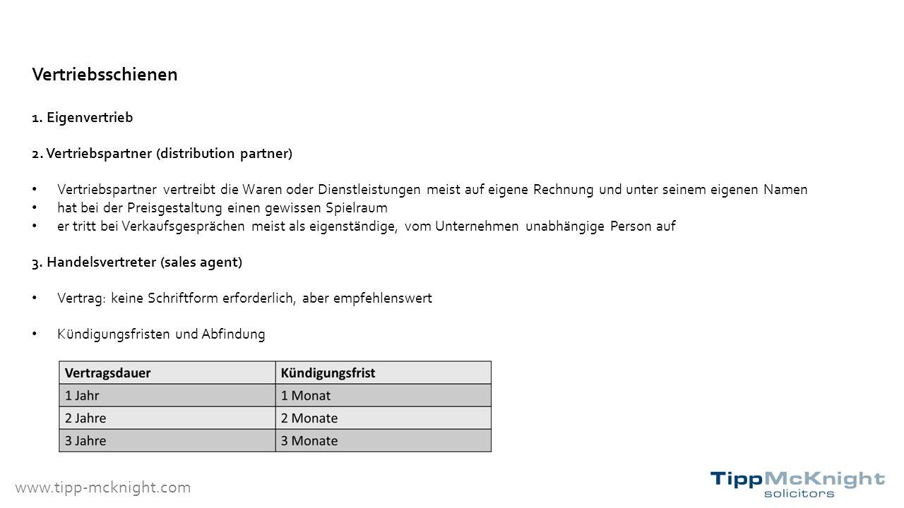 www.tipp-mcknight.com Vertriebsschienen 1. Eigenvertrieb 2.