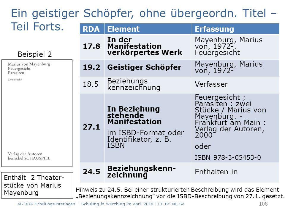108 RDAElementErfassung 17.8 In der Manifestation verkörpertes Werk Mayenburg, Marius von, 1972-. Feuergesicht 19.2Geistiger Schöpfer Mayenburg, Mariu