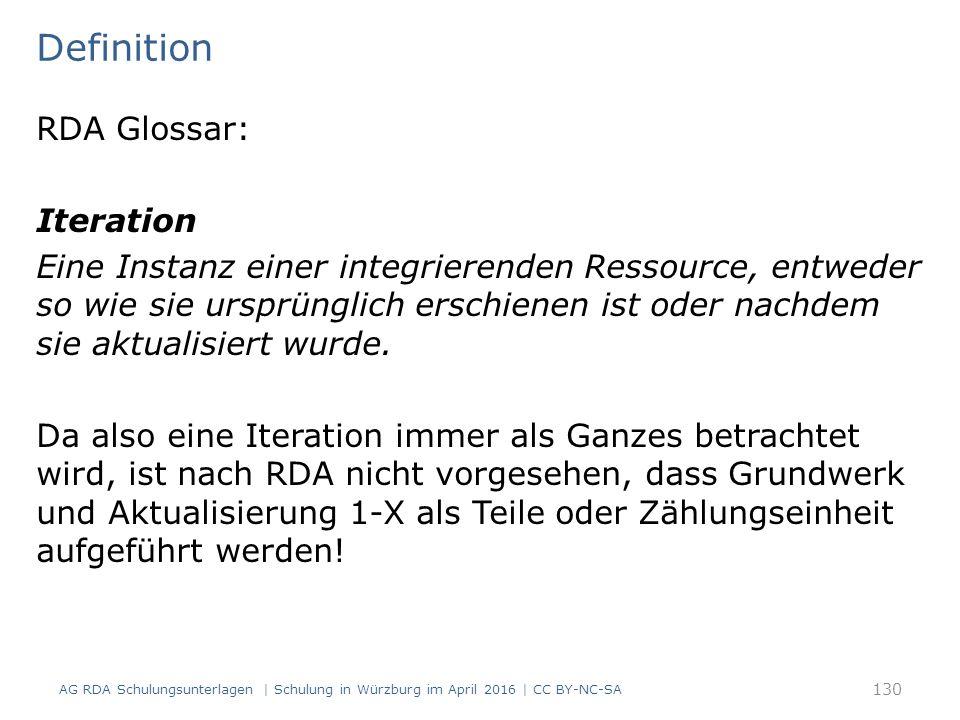 RDA Glossar: Iteration Eine Instanz einer integrierenden Ressource, entweder so wie sie ursprünglich erschienen ist oder nachdem sie aktualisiert wurd
