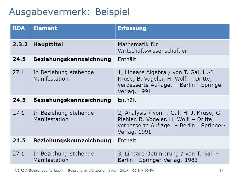 Ausgabevermerk: Beispiel AG RDA Schulungsunterlagen | Schulung in Würzburg im April 2016 | CC BY-NC-SA RDAElementErfassung 2.3.2HaupttitelMathematik f