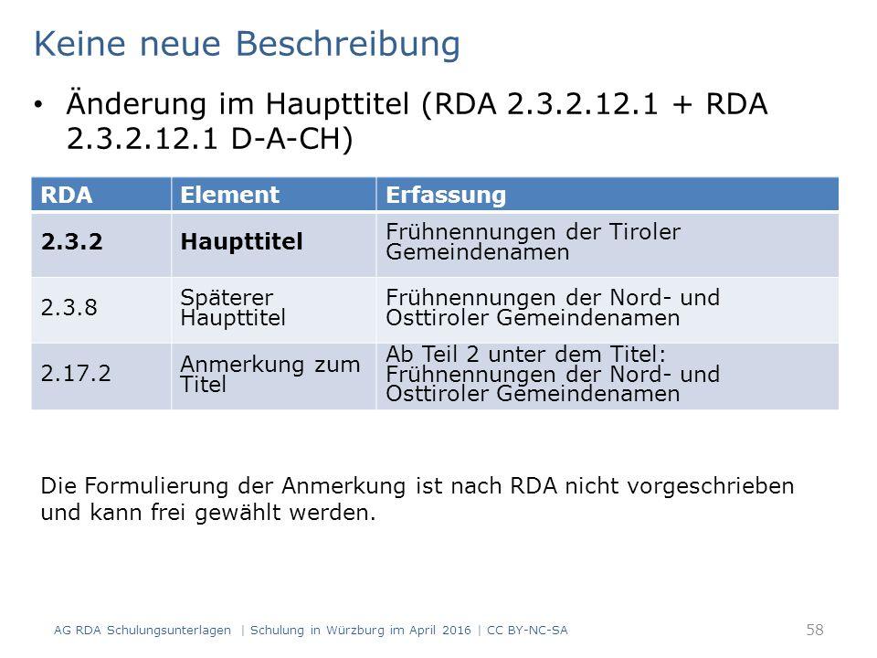 AG RDA Schulungsunterlagen | Schulung in Würzburg im April 2016 | CC BY-NC-SA 58 RDAElementErfassung 2.3.2Haupttitel Frühnennungen der Tiroler Gemeind