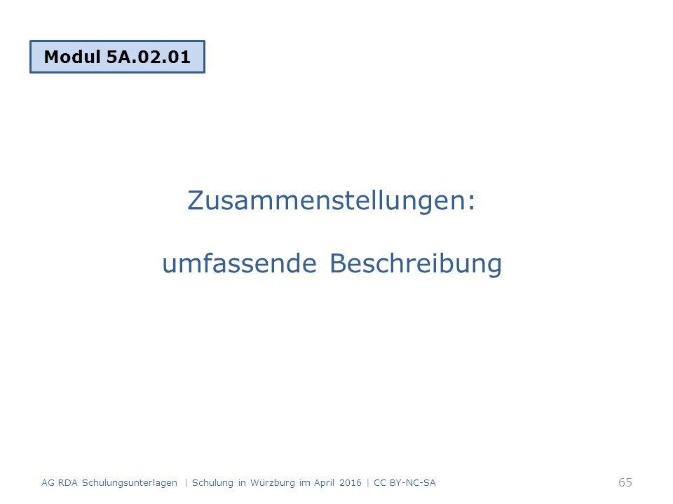 Zusammenstellungen: umfassende Beschreibung Modul 5A.02.01 65 AG RDA Schulungsunterlagen | Schulung in Würzburg im April 2016 | CC BY-NC-SA