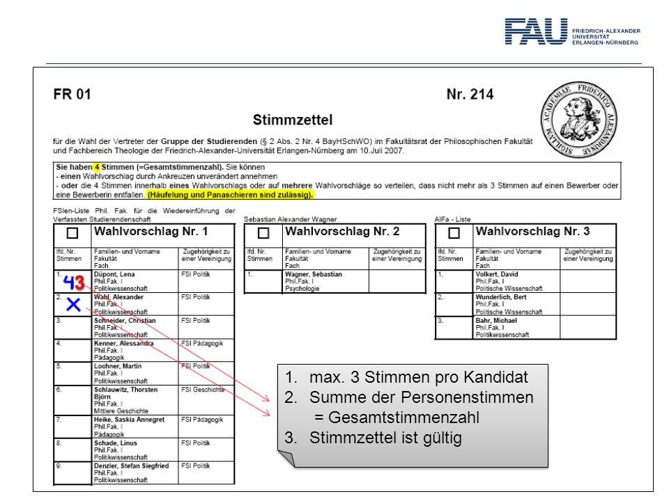 1.max. 3 Stimmen pro Kandidat 2.Summe der Personenstimmen = Gesamtstimmenzahl 3.Stimmzettel ist gültig 1.max. 3 Stimmen pro Kandidat 2.Summe der Perso