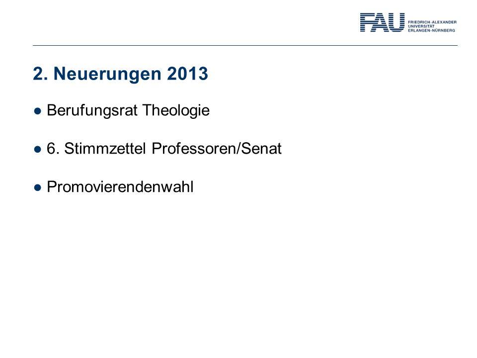 2. Neuerungen 2013 ●Berufungsrat Theologie ●6. Stimmzettel Professoren/Senat ●Promovierendenwahl