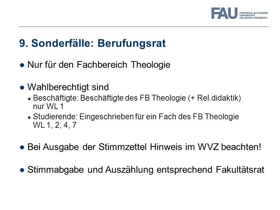 9. Sonderfälle: Berufungsrat ●Nur für den Fachbereich Theologie ●Wahlberechtigt sind ● Beschäftigte: Beschäftigte des FB Theologie (+ Rel.didaktik) nu